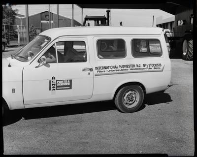 Film negative: International Harvester Company: parts, van and signs
