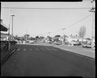 Film negative: Traffic Department Road Safety scene, corner Bower Avenue and Travis Road