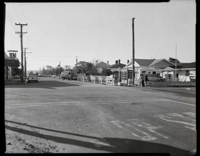 Film negative: Traffic Department Road Safety scene, corner Bower Avenue and Travis Road.  CSB mobile unit also present