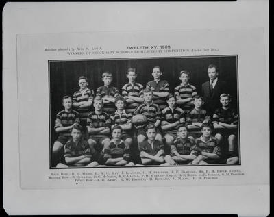 Film negative: Christchurch Boys High School, twelfth XV from 1925