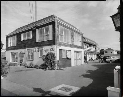 Film negative: A and A Motel exterior with Mr F Daubney