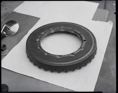 Film negative: International Harvester Company: damaged crown wheel