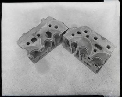 Film negative: International Harvester Company: damaged cylinder head, fan blades, walking beam and radiator