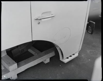 Film negative: International Harvester Company: damaged Seddon cabs and radiators
