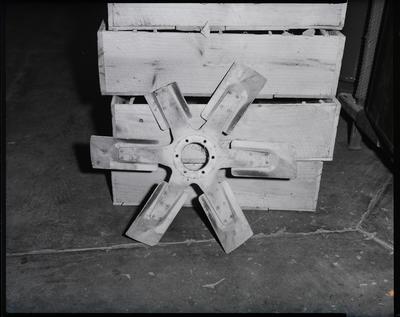 Film negative: International Harvester Company: damaged fans and radiators and head gasket