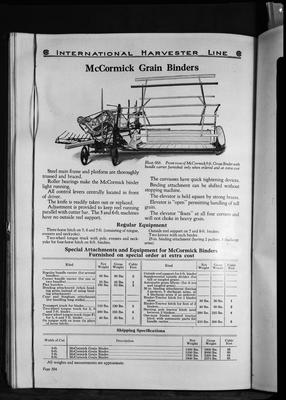 Film negative: International Harvester Company: catalogue from 1939, McCormick grain binder