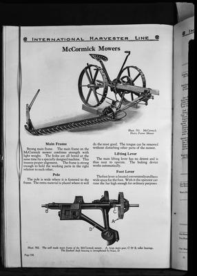 Film negative: International Harvester Company: catalogue from 1939, McCormick mower