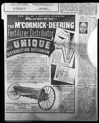 Film negative: International Harvester Company: catalogue from 1939, McCormick-Deering fertiliser distributor
