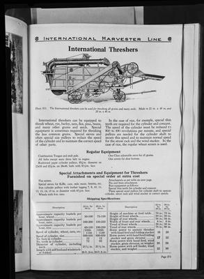 Film negative: International Harvester Company: catalogue from 1939, thresher