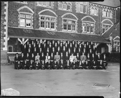 Film negative: Christ's College, school house large group