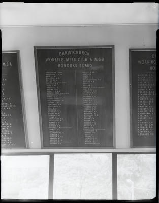Film negative: Christchurch Working Men's Club and MSA, honour boards and early presidents