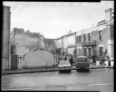 Film negative: Christchurch Working Men's Club, demolition of building