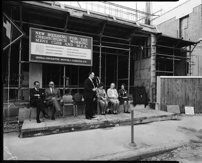 Film negative: Christchurch Working Men's Club, foundation stone laying