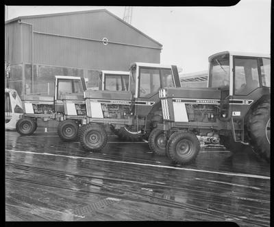Film negative: International Harvester Company: tractors lined up on wharf