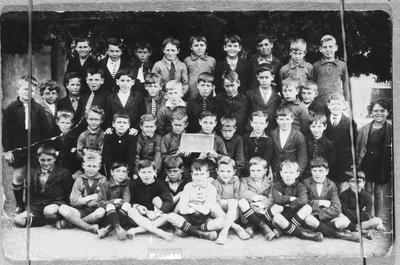 Film negative: School boys and their teacher, Woolston