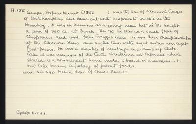 Macdonald Dictionary Record: Stephen Herbert Amyes; 1952-1964;