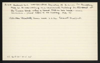 Macdonald Dictionary Record: W C Andrews; 1952-1964;
