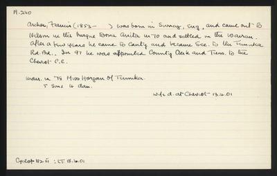 Macdonald Dictionary Record: Francis Archer