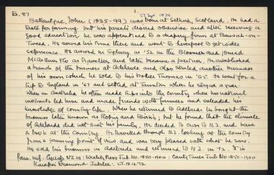 Macdonald Dictionary Record: John Ballantyne