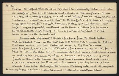 Macdonald Dictionary Record: Alfred Charles Barker; 1952-1964;