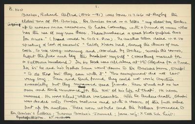 Macdonald Dictionary Record: Richard Alfred Barker; 1952-1964;