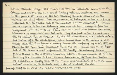 Macdonald Dictionary Record: Frederick Harry Barns