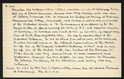 Macdonald Dictionary Record: William Baumber