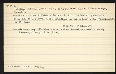 Macdonald Dictionary Record: Robert Bayley