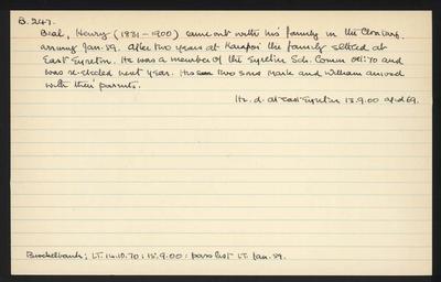 Macdonald Dictionary Record: Henry Beal; 1952-1964;