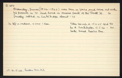 Macdonald Dictionary Record: James Beamsley