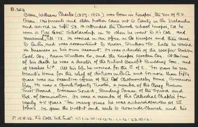 Macdonald Dictionary Record: William Charles Bean