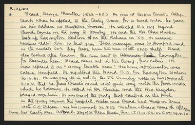 Macdonald Dictionary Record: George Chantler Beard