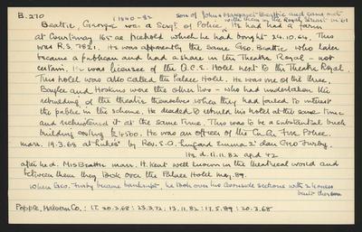 Macdonald Dictionary Record: George Beattie; 1952-1964;