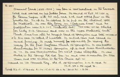 Macdonald Dictionary Record: James Beaumont