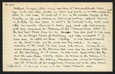 Macdonald Dictionary Record: George Bedford