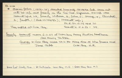 Macdonald Dictionary Record: John Bevins; 1952-1964;