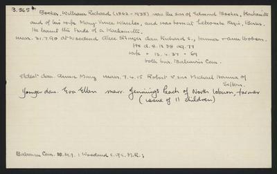 Macdonald Dictionary Record: Wlliam Richard Booker; 1952-1964;