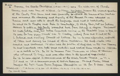 Macdonald Dictionary Record: Charles Christopher Bowen; 1952-1964;