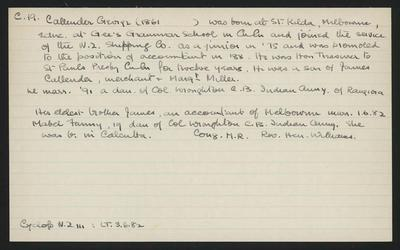 Macdonald Dictionary Record: George Callender; 1952-1964;