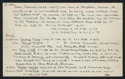 Macdonald Dictionary Record: Thomas Cane; 1952-1964;