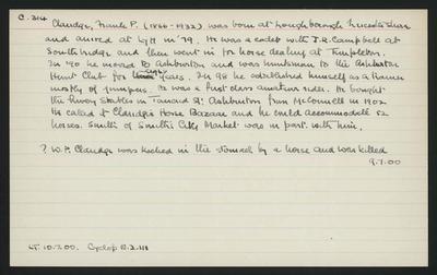 Macdonald Dictionary Record: Frank P Claridge; 1952-1964;