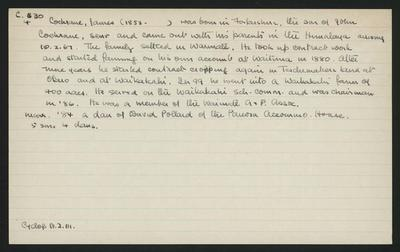 Macdonald Dictionary Record: James Cochrane