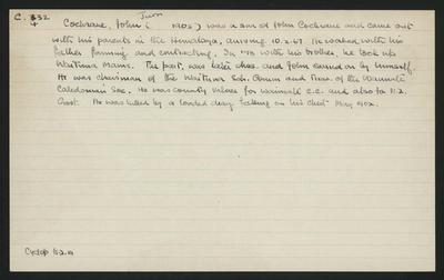 Macdonald Dictionary Record: John (Junior) Cochrane