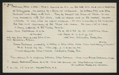 Macdonald Dictionary Record: John Cochrane