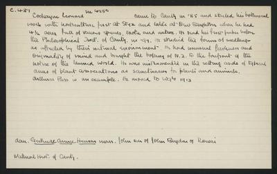 Macdonald Dictionary Record: Leonard Cockayne