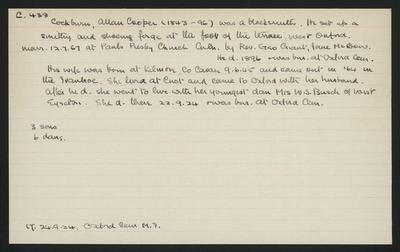 Macdonald Dictionary Record: Allan Cooper Cockburn