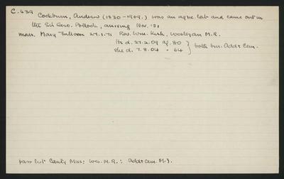 Macdonald Dictionary Record: Andrew Cockburn