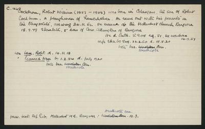 Macdonald Dictionary Record: Robert William Cockburn