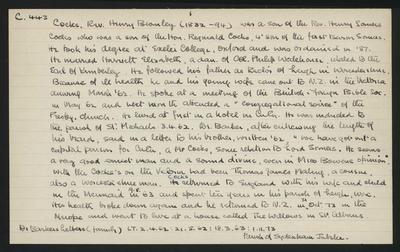 Macdonald Dictionary Record: Henry Bromley Cocks