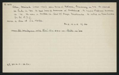 Macdonald Dictionary Record: Heinrich Cohn